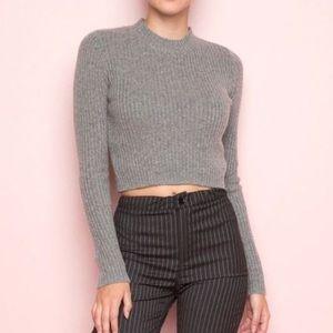 Brandy Melville Ribbed Grey Crop Sweater